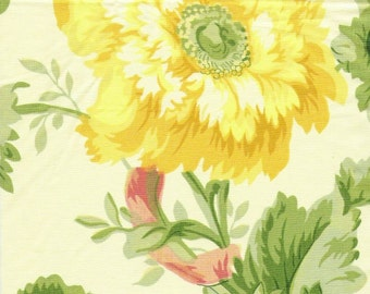 Vintage Rose and Lily floral fabric sample on Yellow cotton