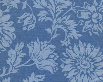 Country Cornflower Chrysanthemum Vintage Fabric - Hand Screened Floral Chintz on Egyptian Cotton