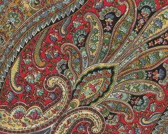 Vintage Paisley fabric sample in Reds on glazed cotton