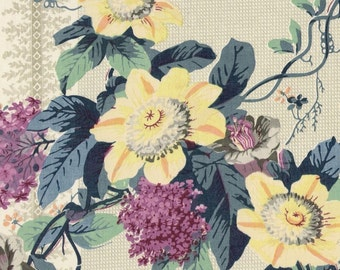 Vintage large scale Victorian Passion Flower fabric sample on glazed cotton