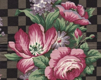 Vintage Floral with Ribbons on a Checkered Ground in glazed cotton