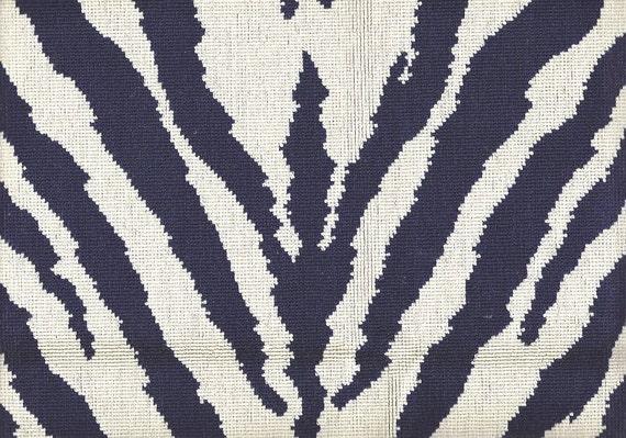Vintage Navy Blue Zebra Print Gros Point By Beautifulfabrics