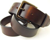 40mm Harness Leather belt Brown USA Made Full Grain with color fast men women casual dress