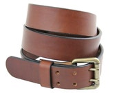 """Made in America 1 1/2"""" Medium Brown Bridle Leather Belt With Double Hole Dress, Work or Casual"""
