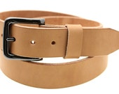 "Men Or Women's 1 1/2"" Tan Harness Leather Belt With Natural Edges And Wide Loop Hand Crafted In USA"