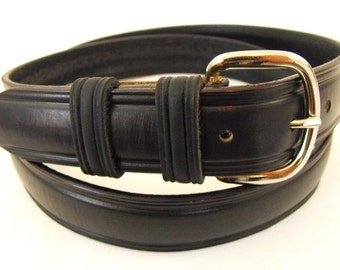 American Hand Crafted Black Leather Belt 1.25 Dome USA