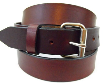 Rich Brown Hand Crafted Leather Belt 1-1/2 Roller Buckle