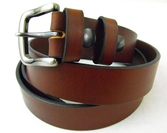 1 1/4 Bridle leather belt men women Rich brown Made in America