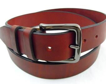 40mm Latigo Leather belt Burgundy USA Made Full Grain men women dress casual