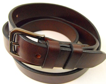 25mm Brown genuine full grain harness with colorfast leather belt American Made Men Women casual Dress