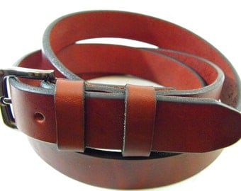 25mm full grain Burguny genuine leather Latigo belt American made men women casual dress