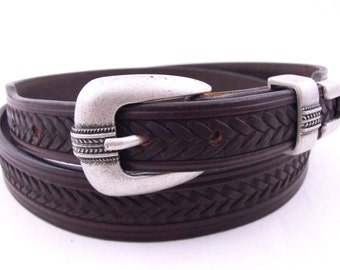 Made in USA Tapered Leather Dress Belt Sunset Harness Men Women Casual