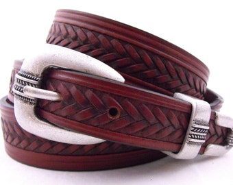 Tapered Leather Dress Belt American Made Bridle Chestnut USA Men Women Casual Full Grain