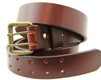 """Made in USA 1 1/2"""" Chestnut Show Harness Leather Belt With Double Hole dress, Work or Casual"""