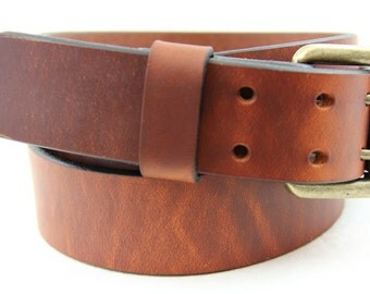 """Hand Made in America 1 1/2"""" Hot Dipped Tan Harness Leather Belt Double Hole With Roller Buckle Dress, Work or Casual"""
