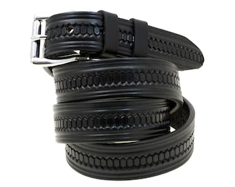 """Made In USA 1 1/4"""" Black Bridle Leather Belt Domed And Embossed With Stainless Steel Buckle And Double Loops"""