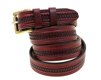 "1 1/4"" Made In USA Burgundy Latigo Domed And Embossed Leather Belt With Double loops And Solid Brass Roller Buckle Men Or Women"