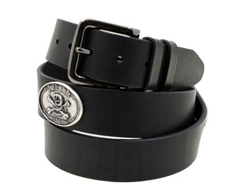 Hand Crafted In USA 40mm Black Latigo Leather Belt don't tread on me Concho And Double Loops