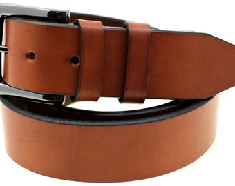 Made In USA 40mm Q-Tan Bull Hide Bridle Leather belt With Double Loop And Black Nickel Buckle