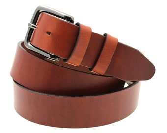 "Tan Oil Tanned Latigo Leather Belt 1 3/8"" Width Double Loop Hand Crafted Made In USA"