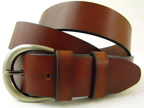 35mm Genuine leather belt Bridle rich brown made in USA Full Grain