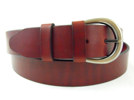 1 3/8 Genuine leather burgundy latigo belt Made in USA men women casual dress