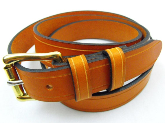 1 1/4 American made bridle leather belt tan brass buckle USA men women full grain