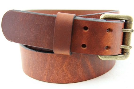 "Hand Made in America 1 1/2"" Hot Dipped Tan Harness Leather Belt Double Hole With Roller Buckle Dress, Work or Casual"