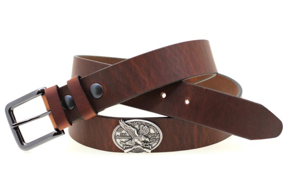 """1 1/2"""" Harness Hot Dipped Tan Leather Belt With Double Loops And Right to bear arms Concho Made In USA"""