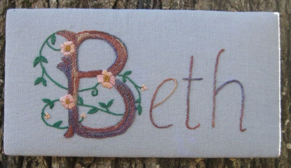 Items similar to beth hand embroidered name sign on etsy