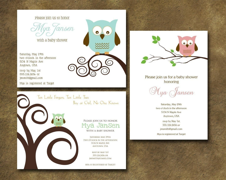 little owl baby shower invitation
