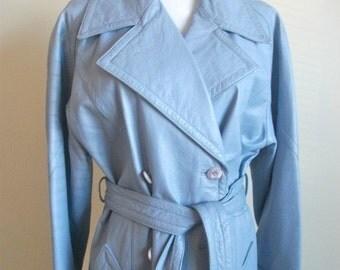 1970s Vintage Powder Blue Genuine Leather Coat/Jacket