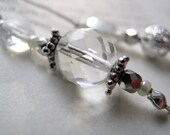 APRIL Crystal and Silver Beaded Bookmark - Personalized Birthstone Book Thong Bookmarker with Your Choice of Pewter Charms