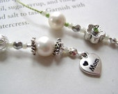 Simple Elegance Bookmark - Beaded Book Thong in Silver, Pearl, and Pale Green with Mom Charm
