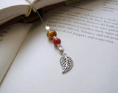 Filigree Leaf Bookmark - Beaded Book Thong in Deep Gold and Burnt Orange with Silver Charms