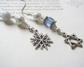 Snowflake and Star of David Bookmark - Beaded Holiday Book Thong in Silver and Ice Blue with Pewter Charms