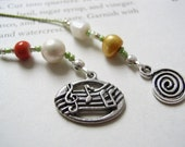 Music Lover's Bookmark - Beaded Book Thong with Music Notes and Swirl Charm in Lime Green and Orange