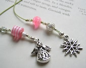 Angel to Watch Over You Bookmark - Beaded Book Thong in Bright Pink with Lime Green and Angel and Snowflake Charms