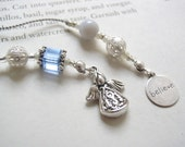 Beaded Bookmark - Angel Watching Over You - Beaded Book Thong in Aqua Blue and Silver with Believe Charm