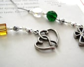 In REMEMBRANCE of a Lost Loved One - Beaded Bookmark Book Thong with Personalized Pewter Charms