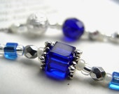 SEPTEMBER Beaded Bookmark Sapphire Blue and Silver Book Thong - Personalized Birthstone
