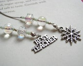 Best Teacher Bookmark - Beaded Book Thong with Snowflake Charm and Clear Crystal Beads