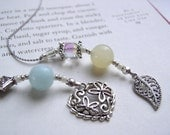 Book Thong Bookmark - Storybook Love Beaded Bookthong in Sky Blue and Lemon Lime with Silver Pewter Heart Charm