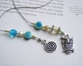 Night Owl Bookmark - Beaded Book Thong Bookmarker in Robins Egg Blue Ceramic and Teal Glass Beads with Pewter Charms