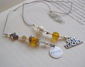Best Teacher BOOKMARK - Beaded Book Thong with Citrine Topaz Gold glass beads and Silver Pewter Believe Charms