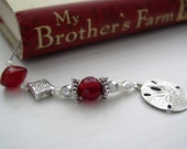 JULY Ruby Red and Silver Beaded Book Thong Bookmark - Personalized Birthstone