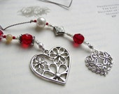 Small Simple Girl Gift - Ruby Red Beaded Book Thong - Elegant Bookmark with Filigree Heart and Flowers Charms for Friend Coworker