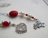 HAPPY BIRTHDAY Beaded Book Thong Bookmark in Ruby Red and Pearl with Personalized Heart Pewter Charm
