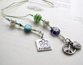 Friendship Beaded Book Thong - Jeweled Bookmark in Robins Egg Blue and Lime Green with Tibetan Silver Love and Friendship Charms