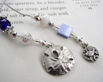 Sophisticated Summer Book Thong Bookmark with Sand Dollar and Cute Fish - Blue and Silver Beaded Book Thong